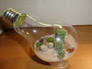 Como fazer um terrário com lâmpada reciclada