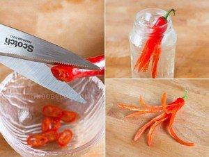 Como cortar pimenta com a tesoura