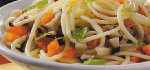 Receita de espaguete com shitake