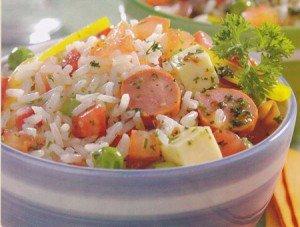 Receita de arroz com salsicha