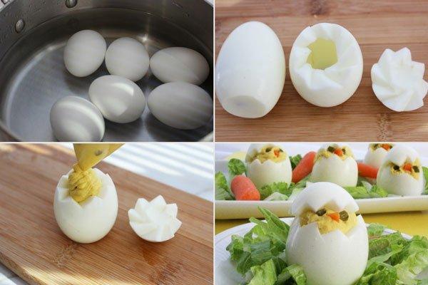 Ovos recheados em formato de pintinho