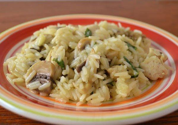 Receita de risoto de frango e cogumelo
