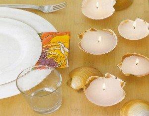 Faça lindas velas usando como suporte conchas do mar