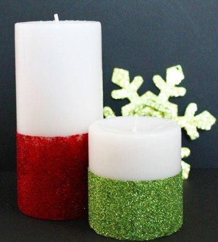 Como decorar uma vela de Natal com glitter
