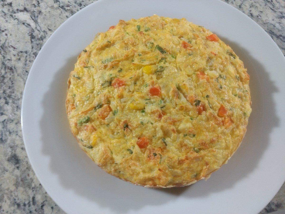 Receita de omelete de arroz e frango