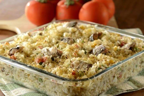 Receita de arroz de forno com sardinha