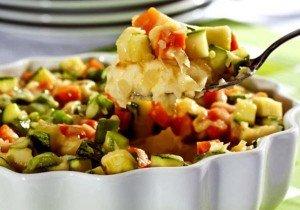 Purê de batata gratinado com legumes