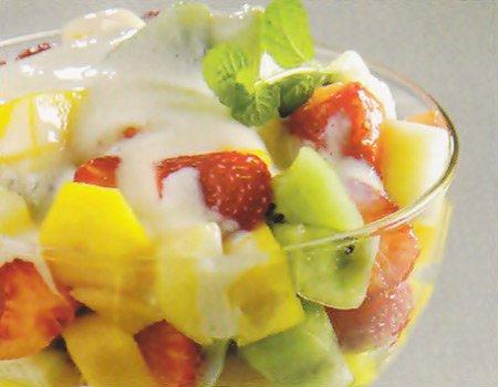 Receita de salada de frutas com creme