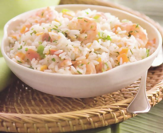 Receita de arroz à grega com camarão