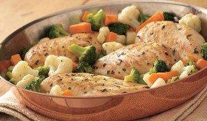 Receita de filé de frango com legumes