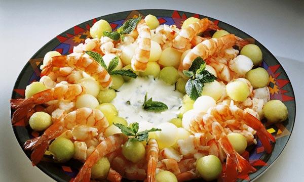 Receita de salada de melão e camarão