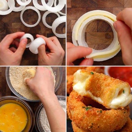Receita de anéis de cebola recheados com queijo